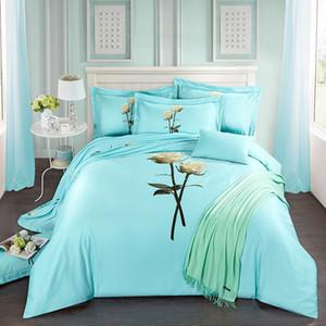 40 * 40/144 * 76 imprimir hoja de cama ropa de cama cuatro piezas ropa de cama reactiva ajustado 100% tejido de algodón, el recuento de thigher hilo de color azul feliz diseño de la rosa