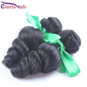 Nuovo arrivo onda allentata estensioni dei capelli umani non trasformati raw indiano sciolto arricciatura dei capelli tessuto a buon mercato ondulato Remi trama 2 pacchetti offerte