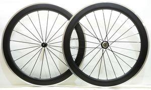 Spedizione gratuita Cerchi in lega freno superficie wheelset 60mm profondità 23mm larghezza Cerchi in alluminio per bici da strada con freno in carbonio con mozzo Powerway R36