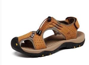 Gros-New Summer Mens Brown Sandales En Cuir Véritable Pantoufles Pour Homme Mode Sandales Casual En Cuir Véritable Confort Chaussures Zapatos Hombre