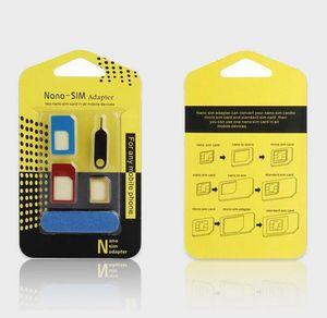 İPhone samsung Nano kartlar Mikro kartlar standart kartlar için metal tasarım Cep Telefonu 5in1 SIM Adaptörü toptan cep telefonu aksesuarı