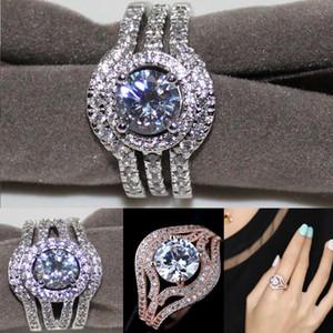 Anillo de boda para mujer Vintage 10kt blanco / oro rosa con incrustaciones CZ diamante simulado su regalo de novia