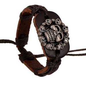 Nuevos productos ajustables pulsera de cuero vintage manguito para la muñeca Los hombres tejidos mano brazaletes pulsera joyería fresca