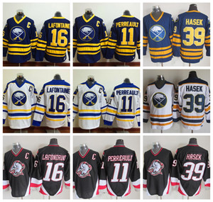 Buffalo Sabres Eishockey Trikots 16 Pat LaFontaine 11 Gilbert Perreault 39 Dominic Hasek 1992 CCM Jahrgang genähtes Jersey C-Patch