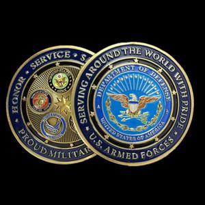 Мода бронзовые позолоченные военные медали все ветви гордая военная семья США вызов монеты коллекционирования бесплатная доставка