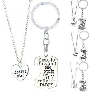 El mejor regalo Chica robó el corazón Mommy daddy Serie Día de la madre Collar del día del padre Llavero WFN017 (con cadena) orden de la mezcla 1set = 2 piezas
