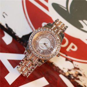 Горячие продажи мода Леди часы роскошь с бриллиантом из нержавеющей стали розовое золото платье часы женщины наручные часы бесплатная коробка повседневная часы подарок для девочек