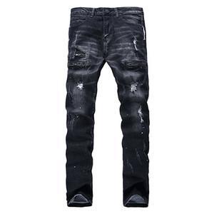 Toptan-Hemiks Moda Mens Yırtık Biker Jeans Siyah Slim Fit Motosiklet Jeans M Vienntage Sıkıntılı Denim Kot Orta Yıkama Pantolon