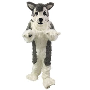 Gray Wolf Husky dog Mascot Costumes Cartoon Character Adult Sz 100% Real Picture