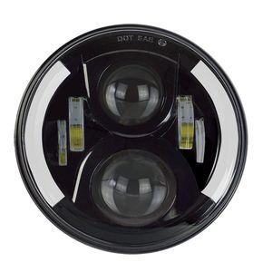 CarBest 7 Inç Yuvarlak Cree LED Farlar Beyaz Halo Yüzük Melek Gözler + Amber Jeep Wrangler 7510FA Için Sinyal Işıkları Yanar