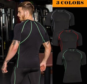 wholesale mens quick dry shaper short sleeve shapewear man basketball tshirt jogging shirt sport clothes free dhl MA32