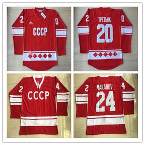 20 Vladislav Tretiak Rusia Jersey 1980 CCCP Rusia Hockey Jerseys Rojo Hombres cosidos y bordados Todo cosido Jersey