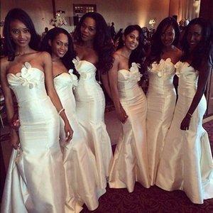 2017 Yeni Ucuz Afrika Gelinlik Modelleri Sevgiliye Uzun Mermaid Tafta Beyaz Fildişi Çiçekler Artı Boyutu Düğün Parti Hizmetçi Onur Törenlerinde