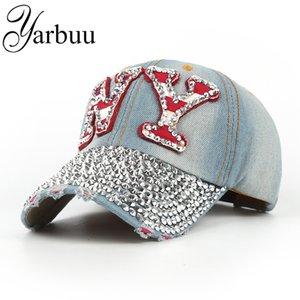 Оптом- [Ярбуу] бейсболка с горный хрусталь Snapback Hat для женщин NY вышивка Sun Unisex мода хлопковые колпачки шарика