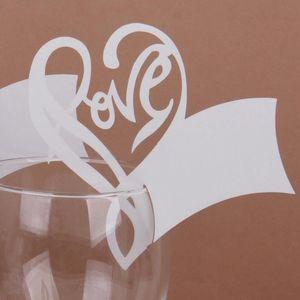 Gros-2016 décoration de fête de mariage 50pcs amour coeur tableau marque verre de vin nom carte