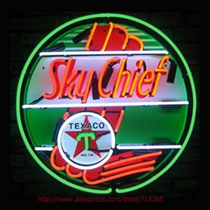 Wholesale- Texaco Sky Chief Neon Sign Neon Bulbs Real Glass Tube Handcrafted Neon Bulbs Decorative Commercial Recreation Room Windows 24x24