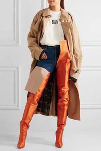 YENI Kadın Uyluk Yüksek Patik Aşırı Uzun Bel Yüksek Çizmeler Floresan Renk Streç Saten Ince Yüksek Topuklu Sivri Burun Sahne Uzun Botas Sh