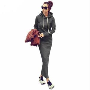 2017 Autumn Winter Women Black Sweater Dress Warm Fur Fleece Hoodies Long Sleeve Maxi Long Dresses Vestidos Femininas