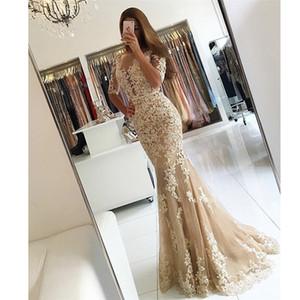 Vestidos de Fiesta Illusion Boat Neck Collo Appliqued Pizzo Champagne Prom Dress Beaded Low V Back Mezza manica Sirena Abiti da sera
