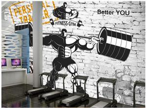 3d papel de parede personalizado 3d murais papel de parede gym mural nostálgico retro sports fitness weightlifting fundo parede sala de estar decoração da parede