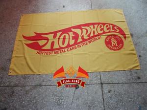 Großhandels-heiße Radmarkierungsfahne, heißeste Metallautos in der Welt 90 * 150CM Polyester-Fahne