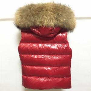 Grand col de fourrure femmes bas gilet style court 90% blanc duvet de canard sans manches gilet veste mode m marque solide manteau chaud
