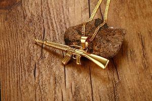 Hombres Collares Chapado en oro AK-47 Pistola de Asalto Rifle Colgante Iced-Out Collar de Acero Inoxidable Hiphop Joyería Militar PN-555