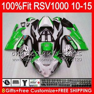 Injection Pour Aprilia RSV1000R 2010 2011 2012 2012 2014 2015 Vert argent 77NO53 RSV1000 R Mille RSV 1000R RSV1000 10 11 12 13 14 15 Carénage