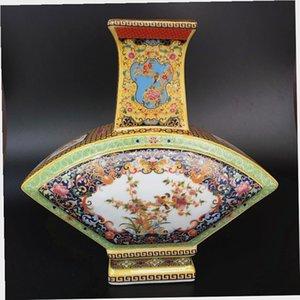 Antiquité Yongzheng Marques Chinois Famille Rose porcelaine peint à la main fleurs et oiseaux éventail forme Vase maison décoration