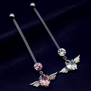 38mm coeur avec des ailes Flexibles Blocs Grossesse Ventre Boutons Body Piercing Bijoux Enceinte Ventre Anneaux Livraison Gratuite