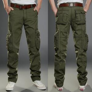 Mens Tamanho Grande Do Exército Verde Carga Calça Casual Calça Masculina Multi-Bolso Militar Camuflagem Calças Dos Homens Calças Bolsos