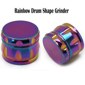 Forma del arco iris del tambor Molinillos de hielo azul Grinder amoladora de tambor Chaflán Molinillos de hierba 63mm aleación del cinc de 4 capas del arco iris Molinillos