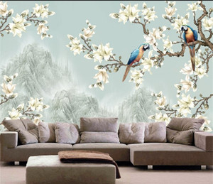 Photo Wallpaper 3D Stereo Chinese Flowers Aves Mural Dormitorio TV Atrás Sofá Sala de estar Tamaño personalizado