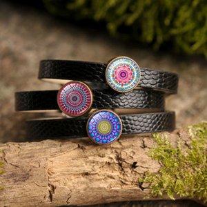 Hot! 5pcs 10Style Mandala fleur Bracelets Bangles Gem Dome verre Om Symbole Bouddhisme Mode Charm Bracelet en cuir noir femmes Bijoux