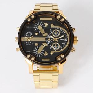 Art- und Weiseoberseiten-Marken-großer Fall Multiple wählt Edelstahlband Datums-Quarz-Armbanduhr 7333 aus