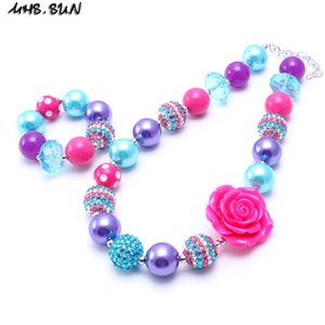 MHS.SUN Teal + Hot Pink Kid Chunky NecklaceBracelet Set Big Rose Flower Bambini Ragazza Bubblegum Chunky Bead Necklace Set di gioielli