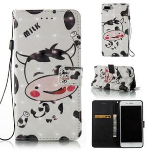 BB030010 para iPhone / Samsung Galaxy Luxury 3D Cow Pattern PU de cuero Flip Kickstand Wallet Case con ranuras para tarjetas y correa para la muñeca caja del teléfono