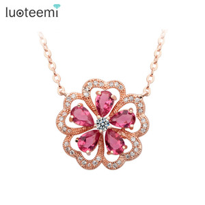 LUOTEEMI Brand Designer Romantic Flower Pendant with Mirco Cubic Zircon Around Girls Necklace Rose Gold-Color Factory Sale