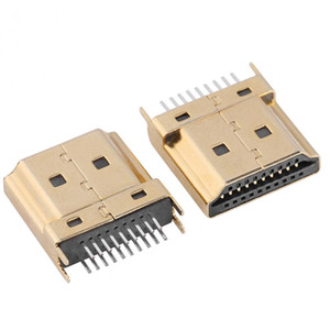 Freeshipping 50Pcs Packs Gold Tone Mini HDMI Male Jack Connectors 1.6mm Pitch 19 Pins PCB Wholesale