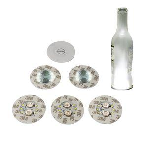 Luci bottiglia di vino, 6 LED Sticker Coaster Dischi Luci per la bottiglia di vino, bottiglia del liquore, o altra chiara Decorazione Vetro per partito