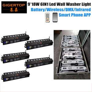 5in1 di carica di effetto di fase Flightcase pacchetto dimmerabile intelligente illuminazione 9x18W Led Wall Washer IRC remoto 2.4G Wirless DMX telefono WiFi