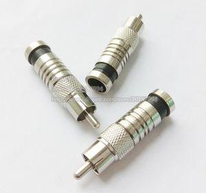 جودة عالية rg6 rca الذكور ضغط محول موصلات ل cctv كابل فيديو الصوت سلك / شحن مجاني / 10PCS