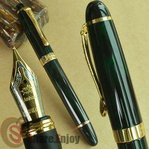 Новый JINHAO X450 темно-зеленый и золотой авторучка 18 КГП 0.7 мм широкий перо фиолетовый вино синий красный 20 цветов и чернил JINHAO 450