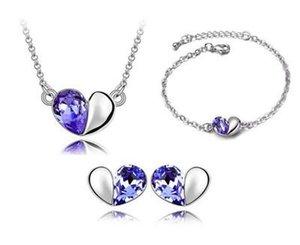 Bracelets Earrings Necklaces Fashion Jewelry Austria Zircon Crystal Necklace+Earrings+Bracelet Love Heart Jewelry Set Diamond Women Jewellry