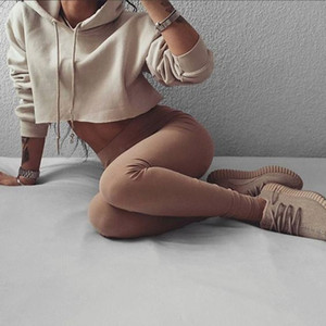 Moda femenina casual suelta punk con capucha sudadera con capucha de manga larga con estilo Crop Top verano primavera sudadera delgada de color caqui chándal