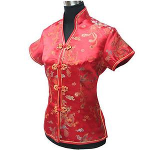 Camicetta estiva rossa New Chinese Womens Satin Polyester Shirt con scollo a V Top Dragon Phenix Taglia S M L XL XXL XXXL Mujer Camisa JY044-1