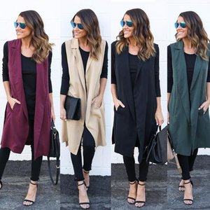 Women's Trench Coats Europe and the United States women's sleeveless long coat cardigan coat Women's Clothing