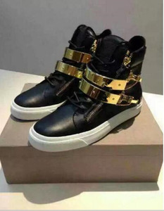 2018 männer freizeitschuhe goldriemen sneakers schwarz leder loafer dicker absatz high top sneakers reißverschluss loafer schnüren partei männliche schuhe