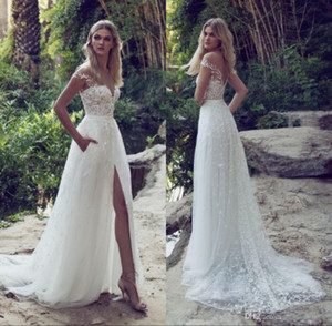 2018 Pizzo Abiti da sposa Sheer Illusion Bodice Jewel Court Train Vintage Garden Beach Boho Wedding Party Abiti da sposa