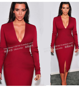 2017 sonbahar kim kardashian aynı bir adım dress uzun kollu v yaka bölünmüş seksi bodycon dress kırmızı siyah